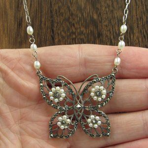 """Vintage 18"""" Sterling Pearl Butterfly Necklace"""